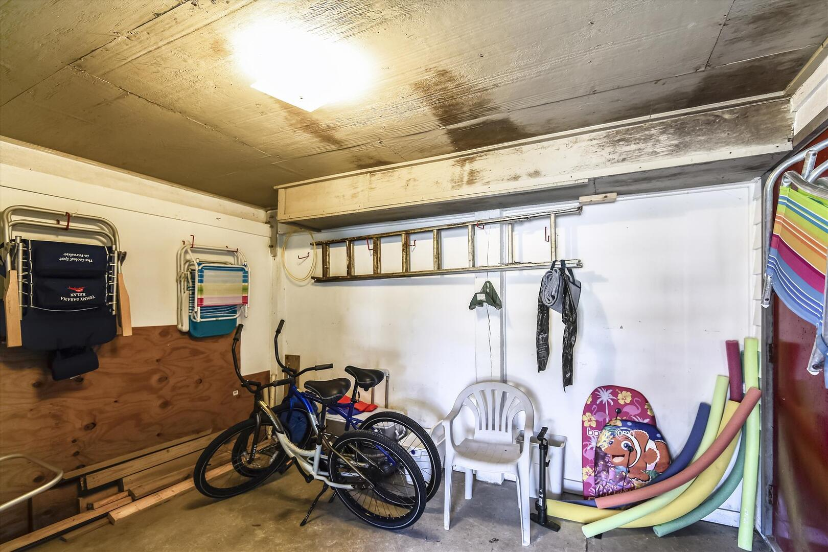 Pool Level,Storage,beach chairs, bicycles and pool equipment.
