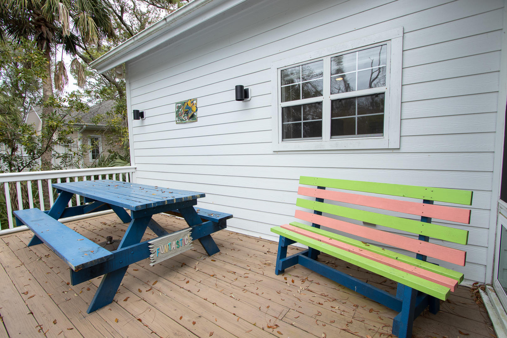 Back deck, grill and picnic table