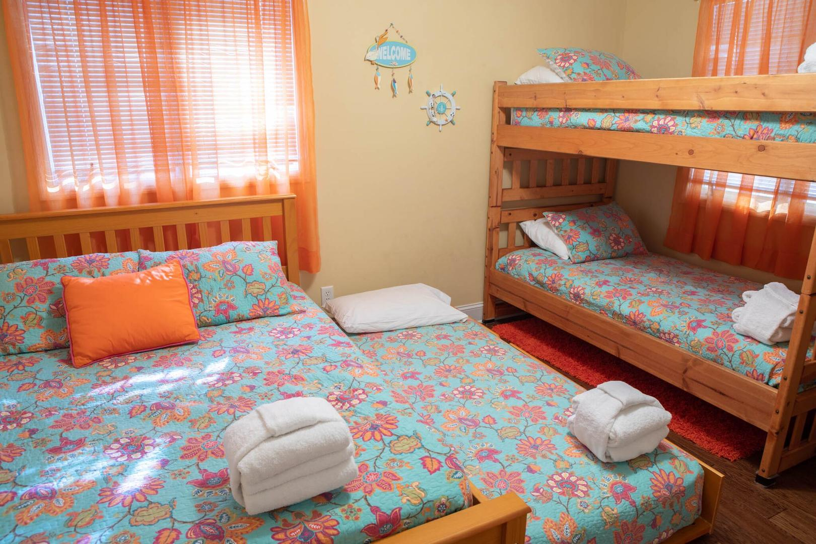 Bunk room with new full bed and trundle