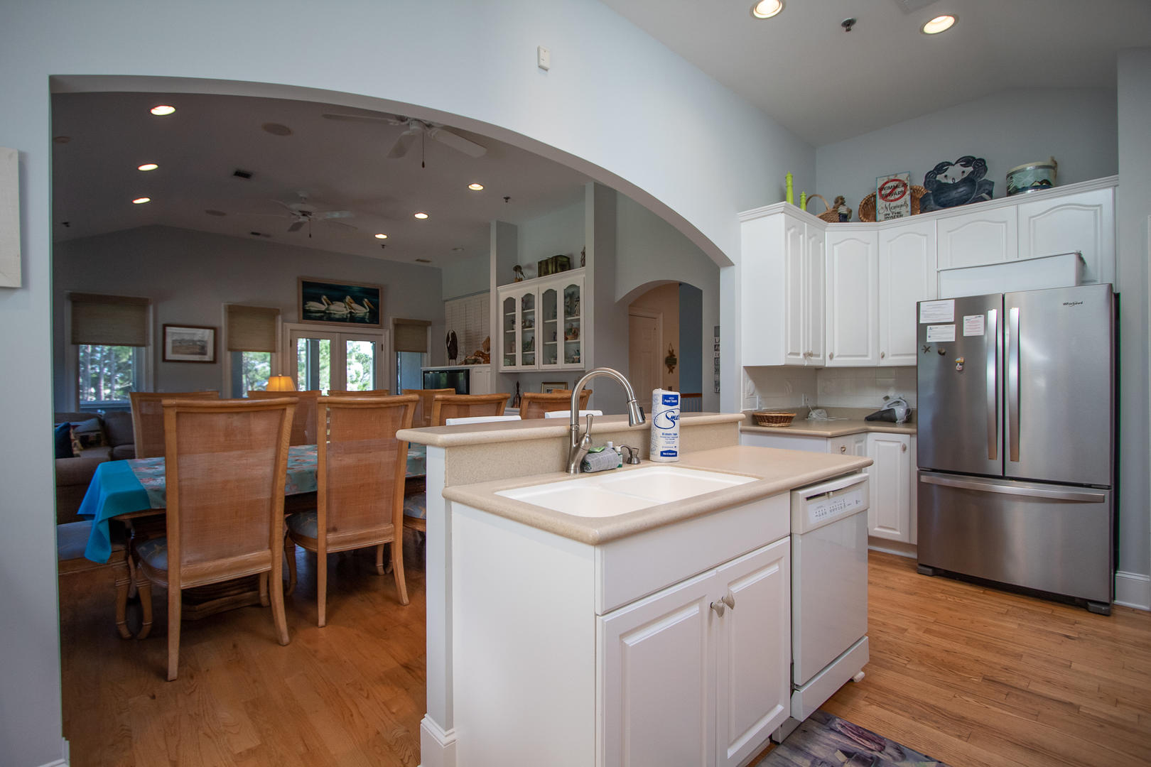 Kitchen, 2nd floor, 2 seats at bar, coffee pot, access to back screened porch