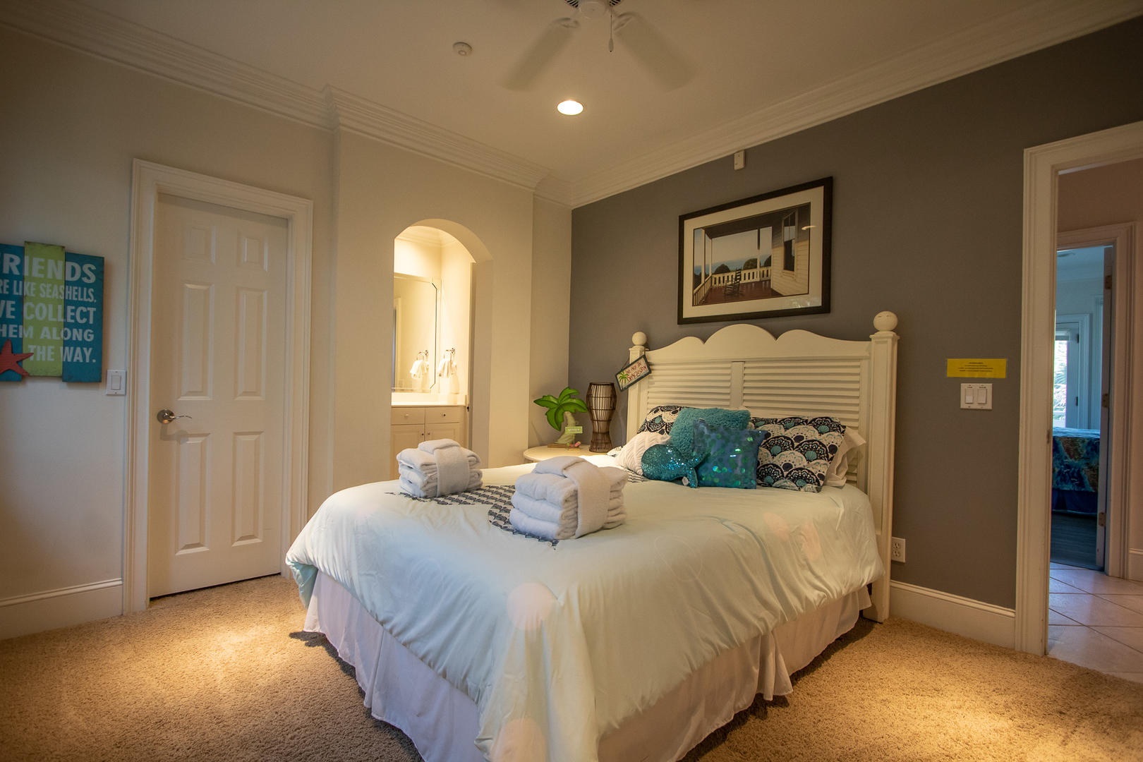 Bedroom 2, TV, jack and jill bath with bedroom 1