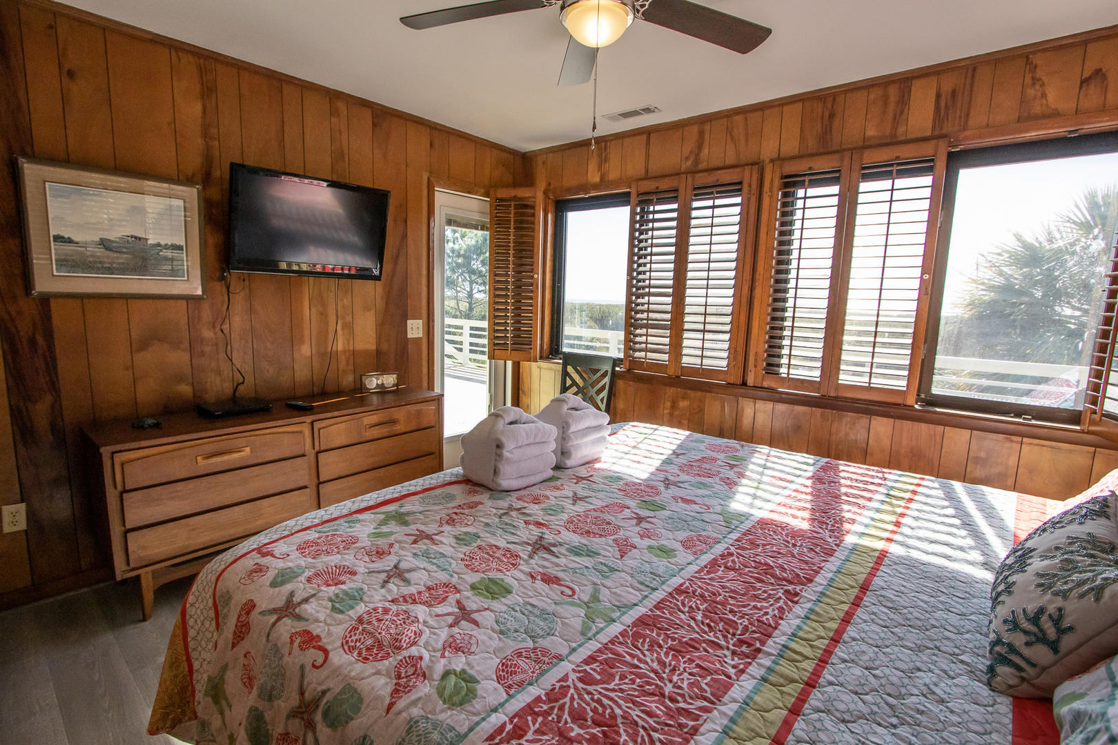 Master, TV w/ DVD player, Access to back deck