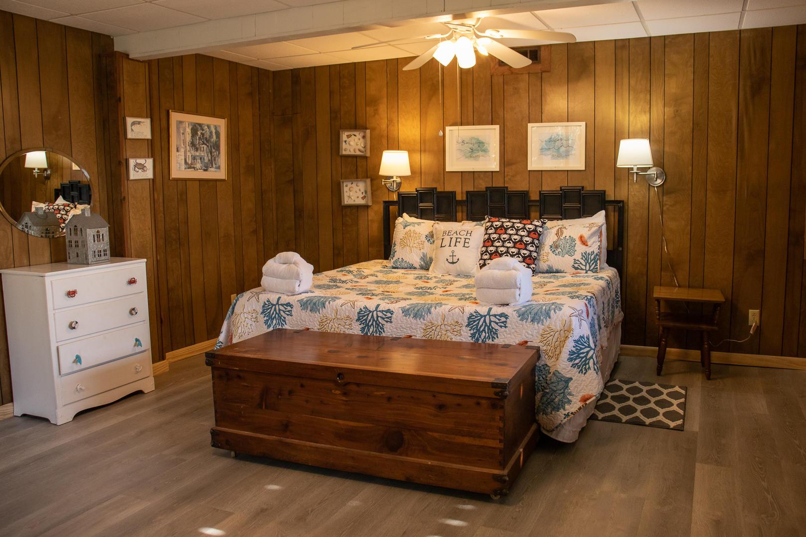 Bedroom 4, lower level, private access, TV, 1/2 bath