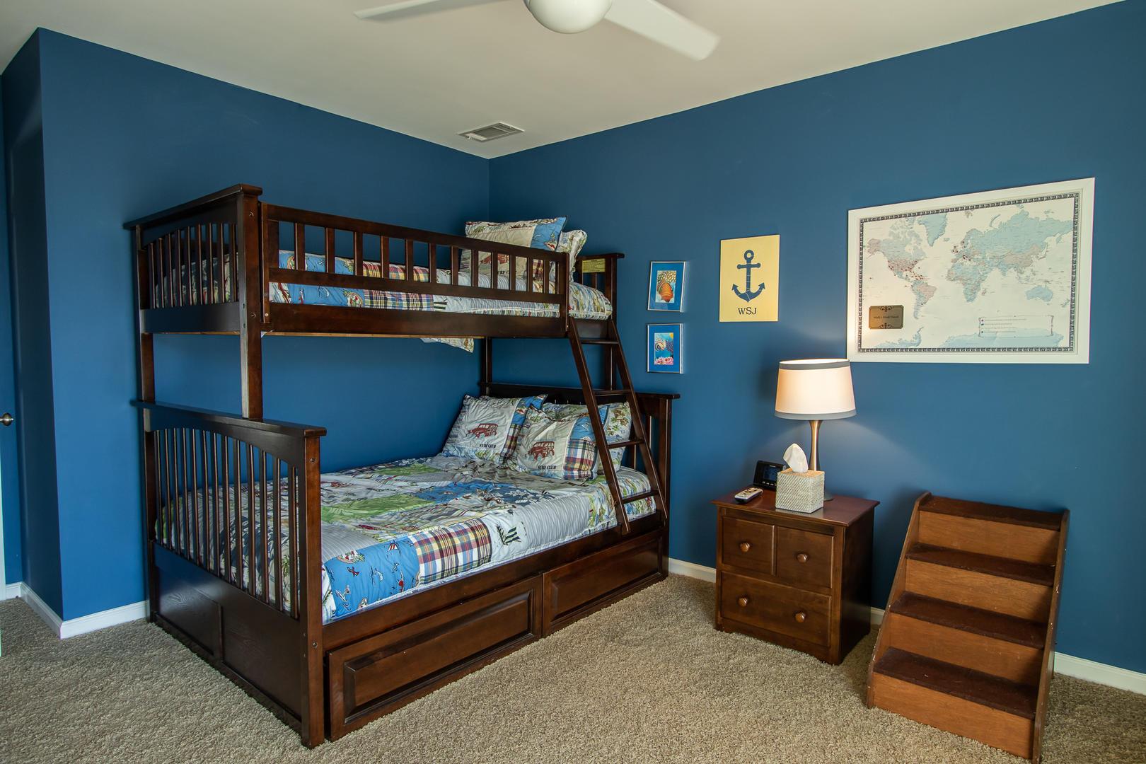 Bedroom 3, TV, jack and jill bath, access to front balcony
