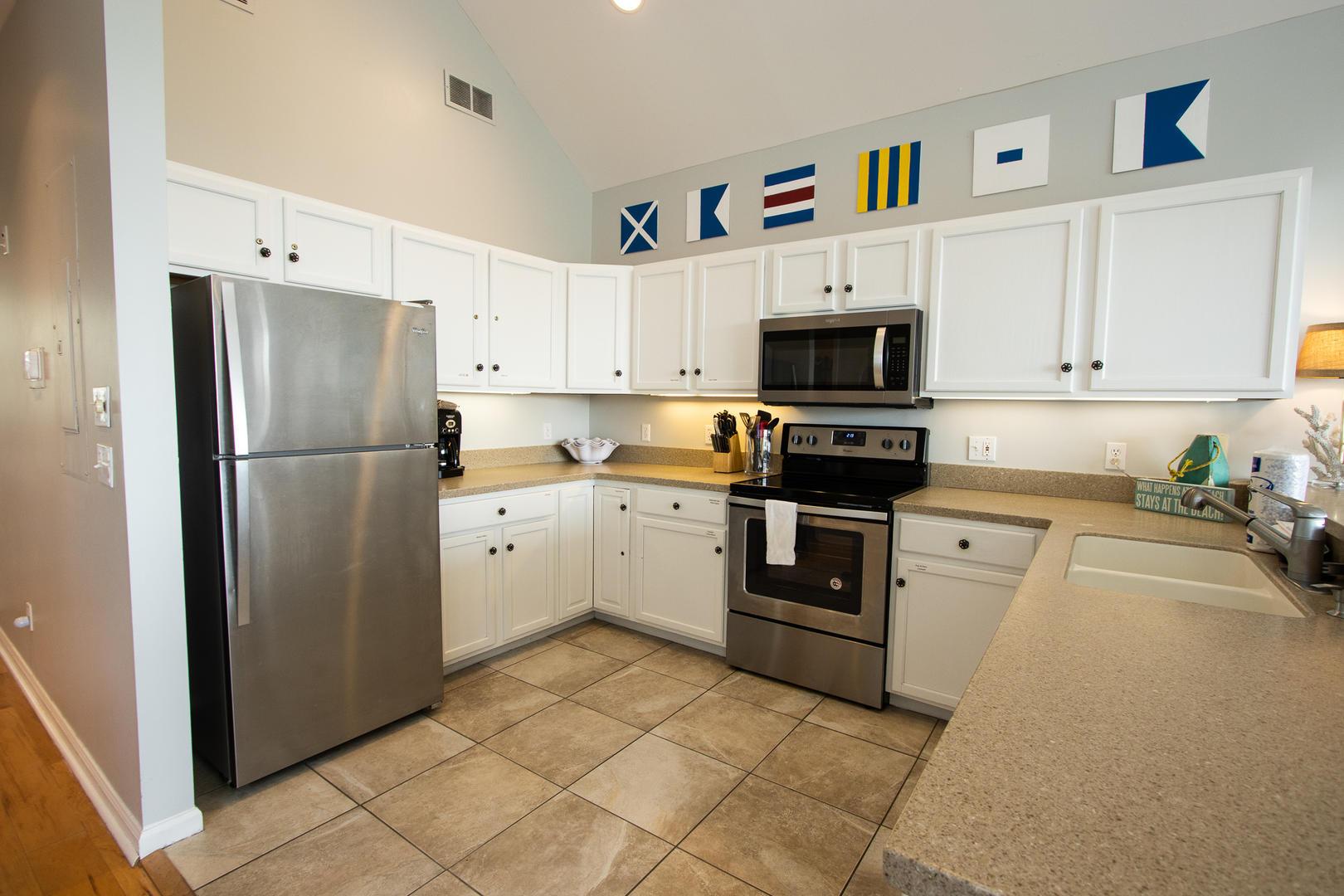 Kitchen, 2nd floor, coffee pot, 1/2 bath