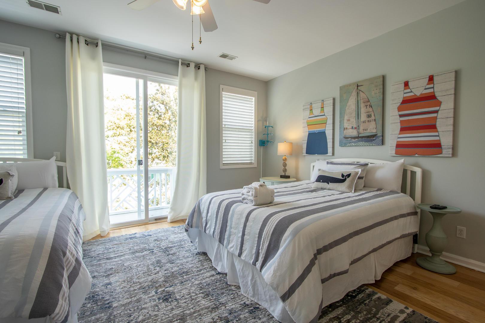 Bedroom 1, 2nd floor, TV, access to balcony, en suite full bath