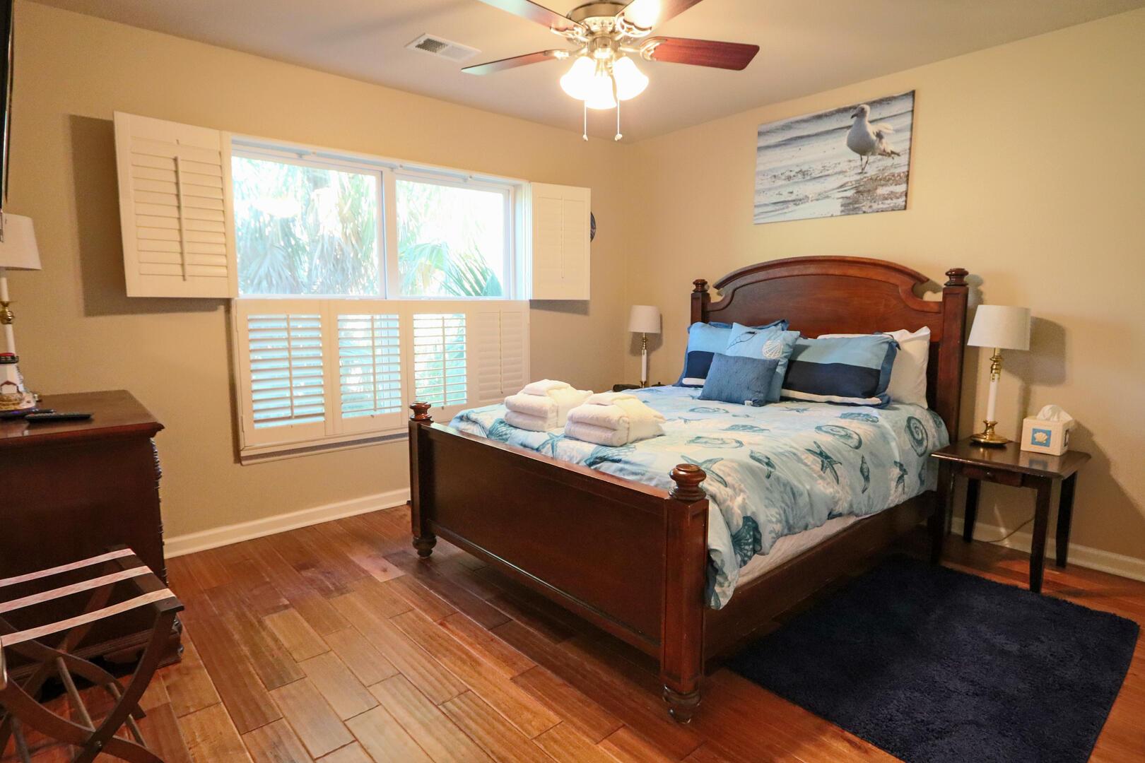 Bedroom 1, TV, jack and jill full bath