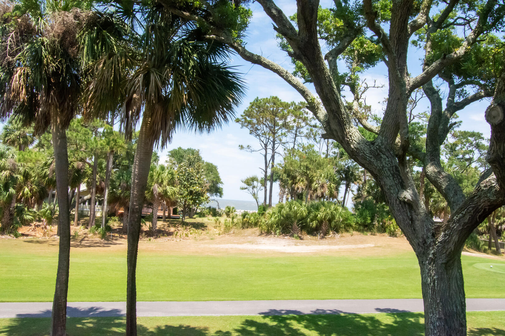 View of golf course and ocean