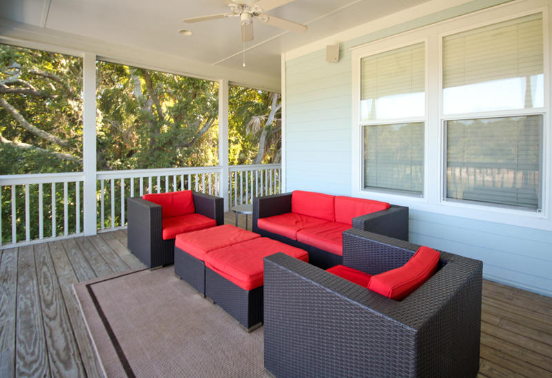 Second floor right deck with comfortable seating