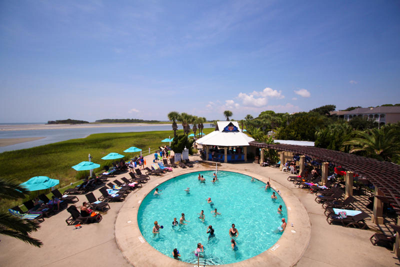 The Cabana Club Grill and pool is a favorite family spot on Fripp Island