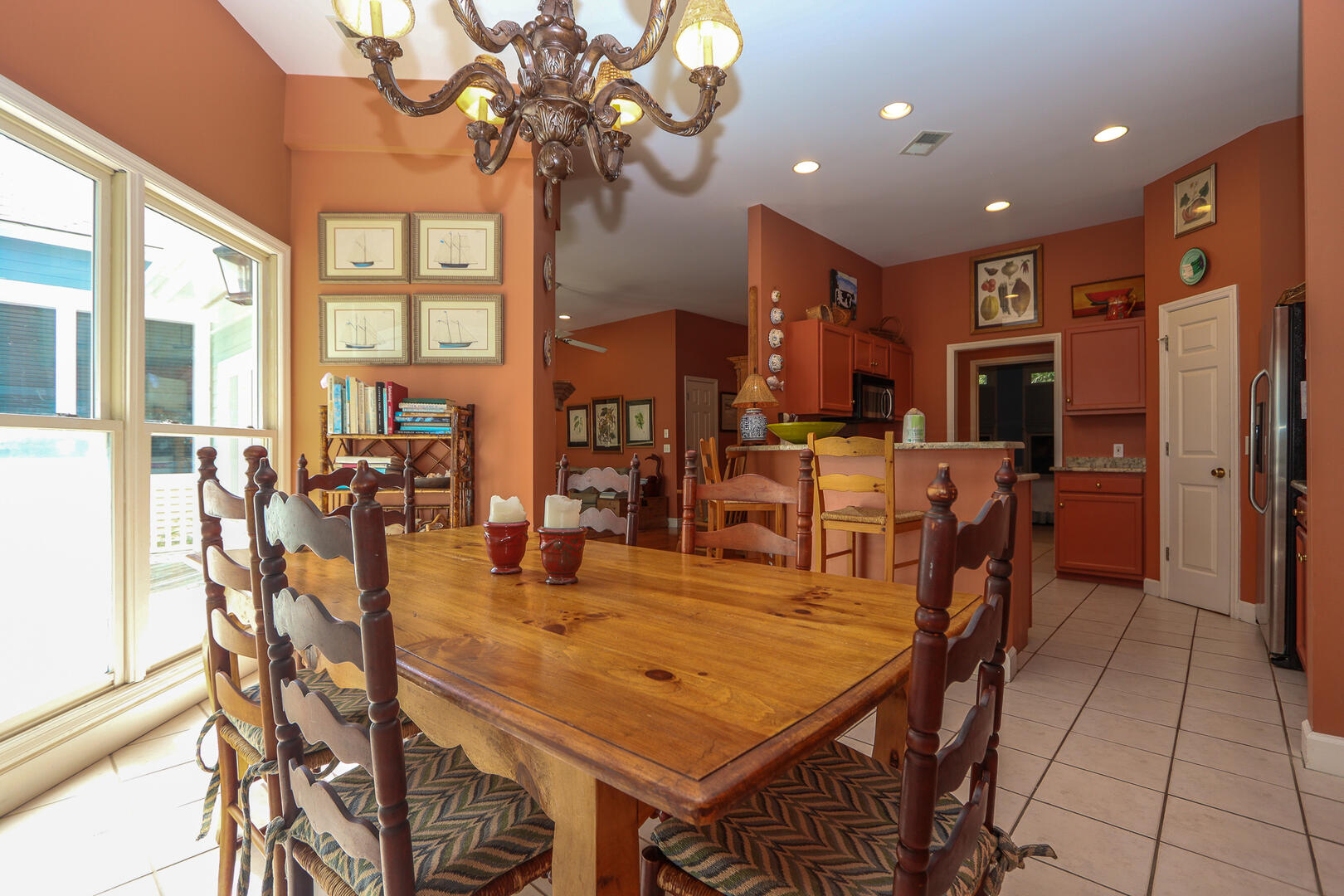 Dining room with access to back decks