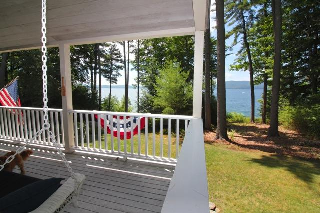 View from large covered porch
