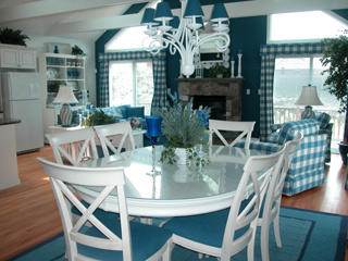 Open dining, kitchen and living areas