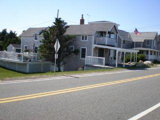 View of our cottage from across the street with the beach at our back
