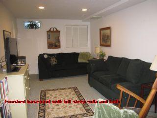 Finished basement with full sleep sofa and bath