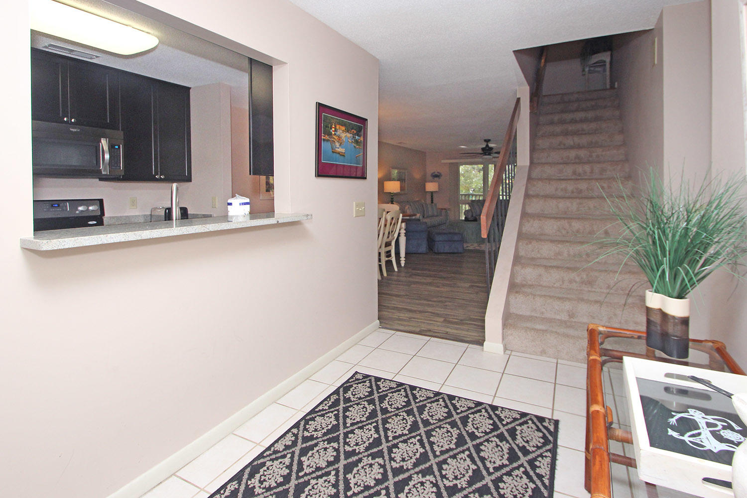 Foyer and stairway to bedrooms