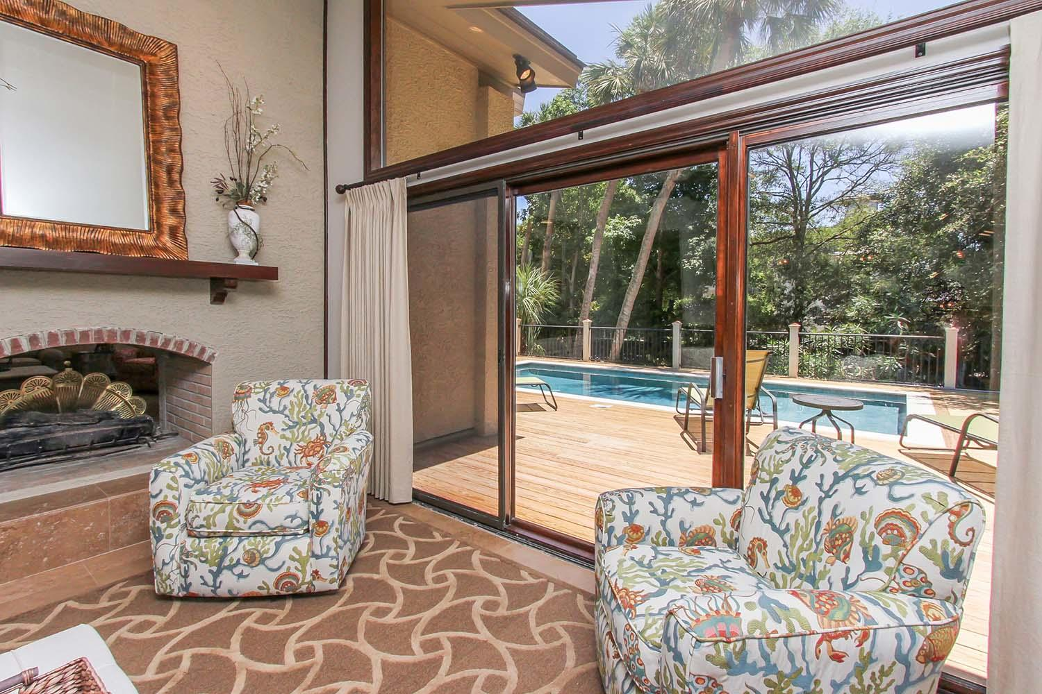 Family room opens to front pool