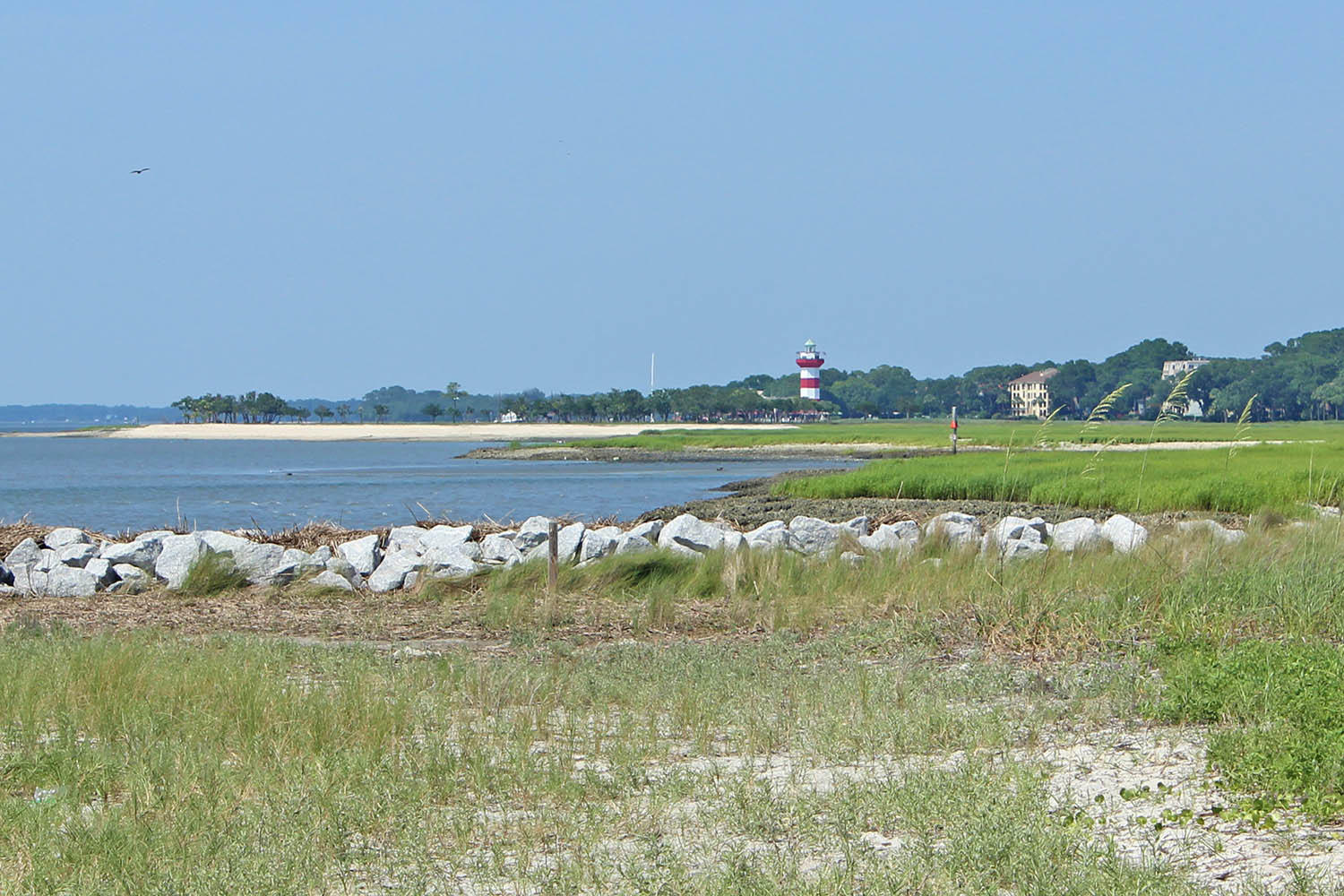 View of Harbour Town Lighthouse from beach
