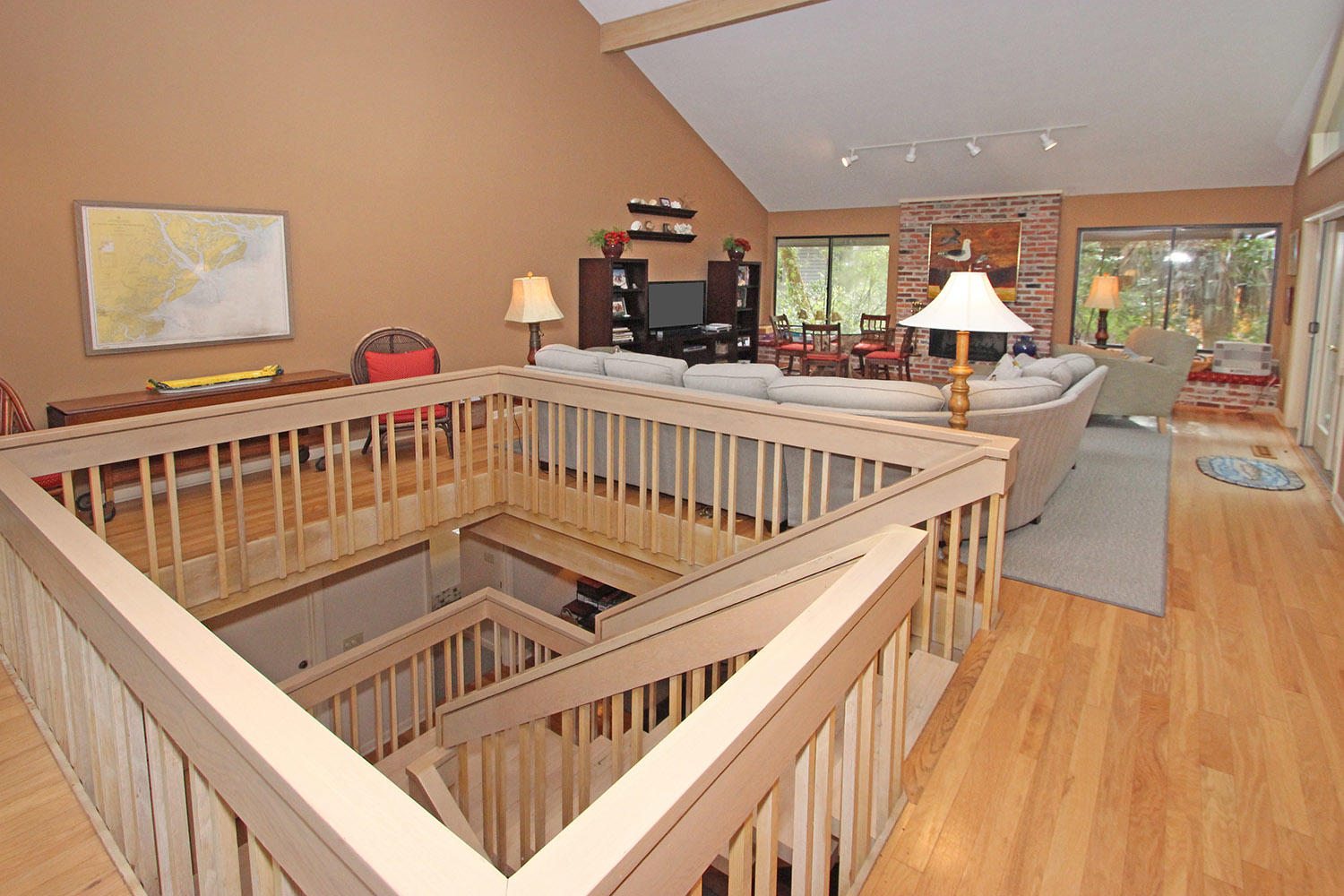 Living room from top of stairway