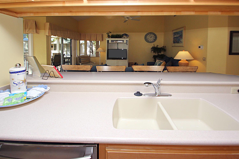Kitchen pass-through to living area