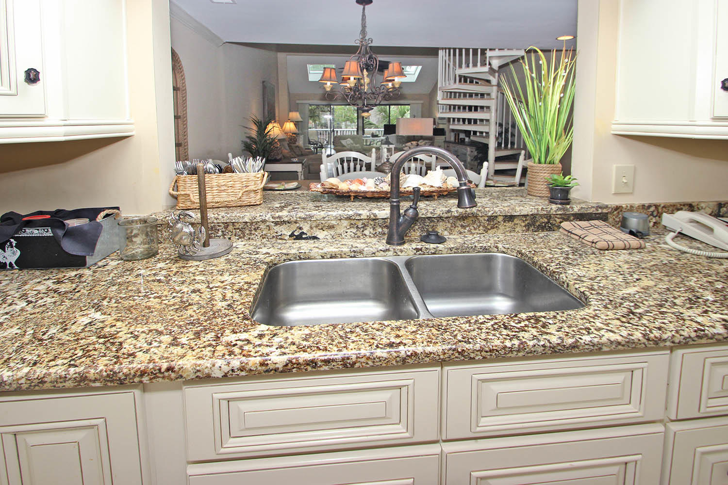Kitchen pass-through to dining and living areas