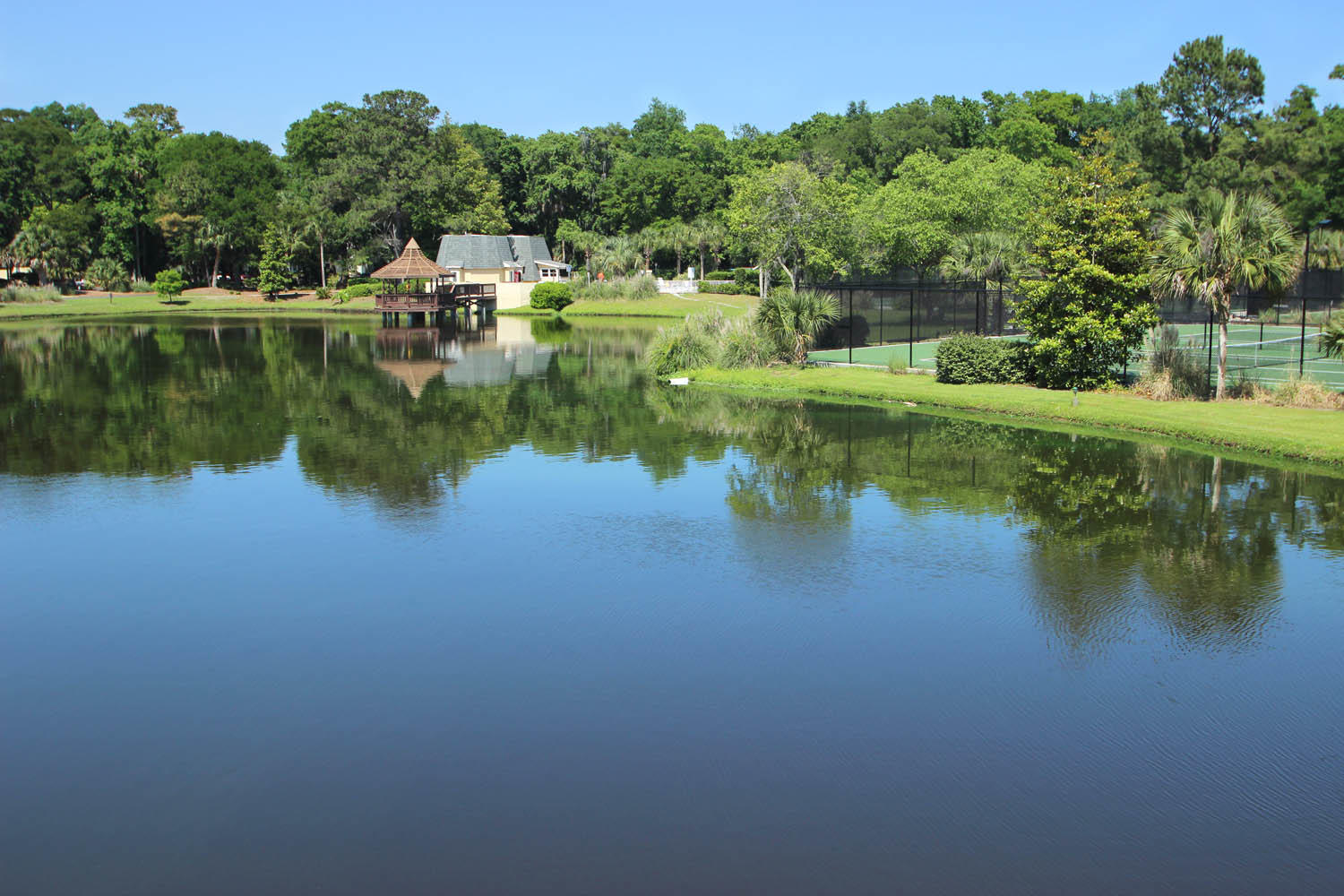 Lagoon by pool and tennis courts