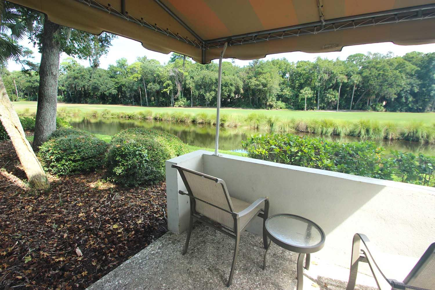 Back patio and lagoon view