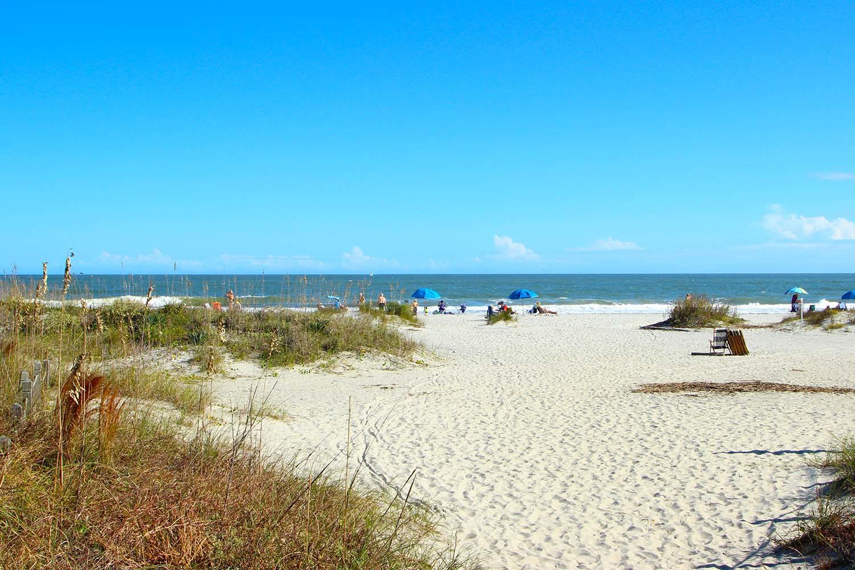 Beach path and ocean
