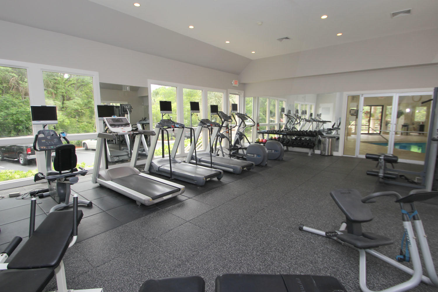 Fitness center at health club