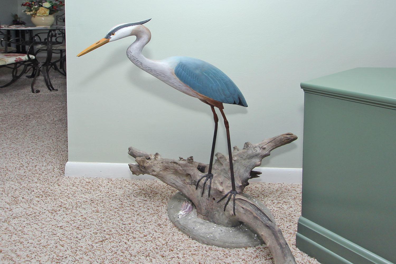 Hand-carved blue heron