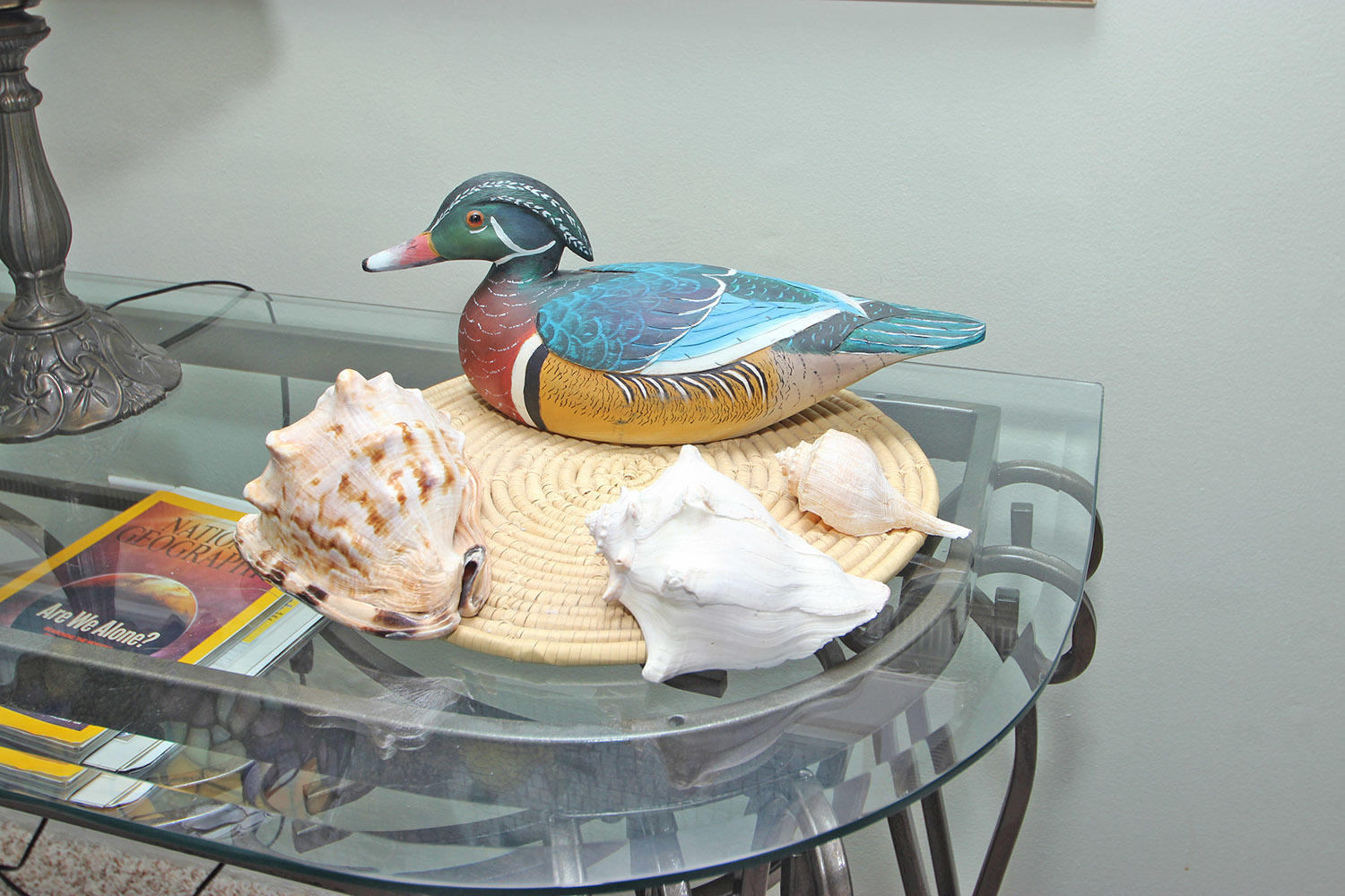Hand-carved wood duck