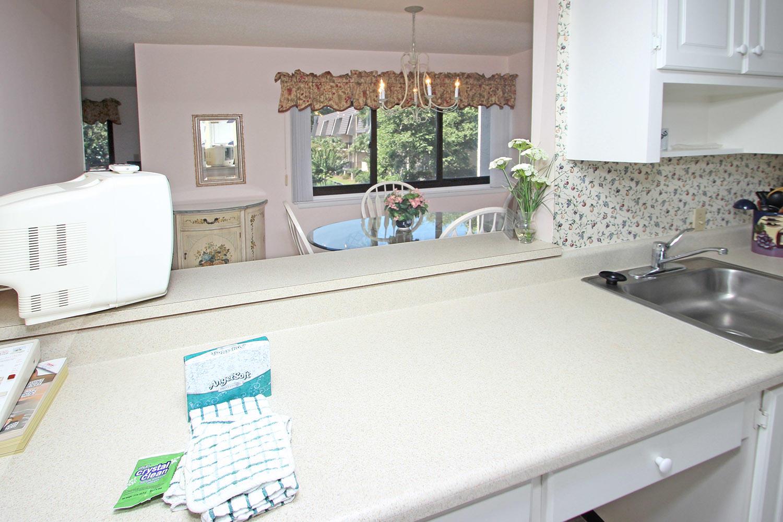 Kitchen pass-through to dining area
