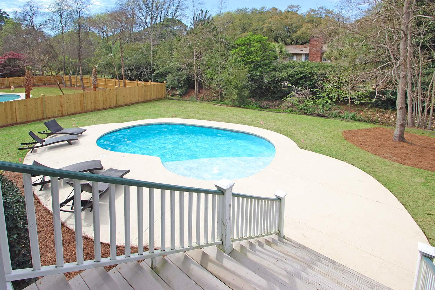 Pool area from deck