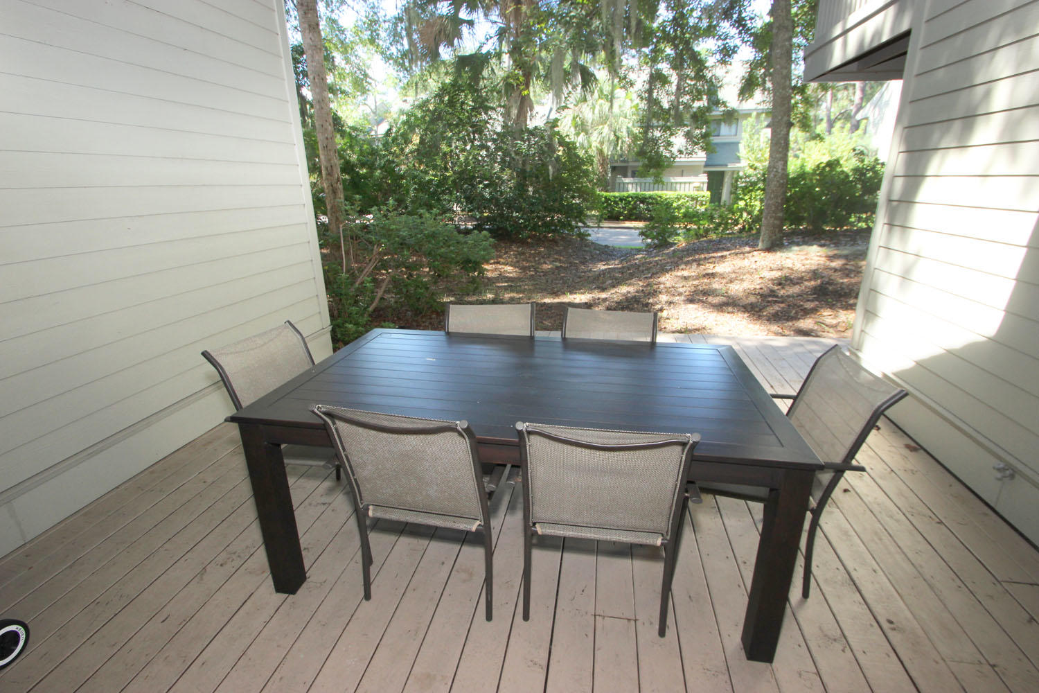 Back deck with table