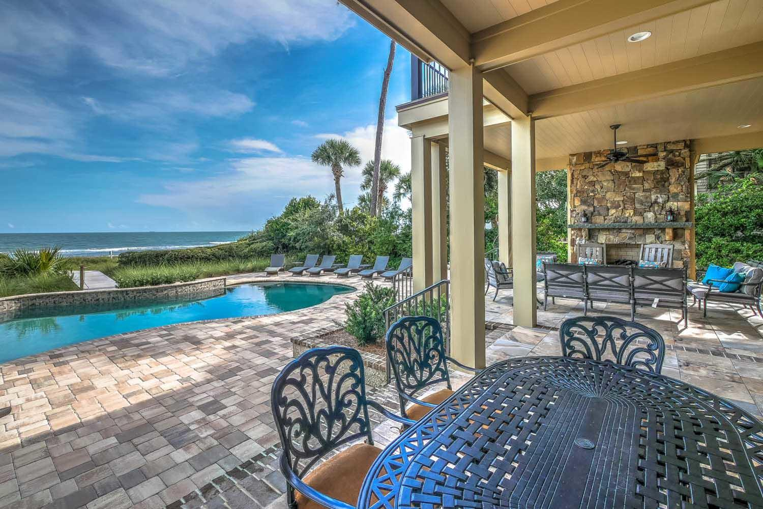 Covered porch and fireplace | Ocean Jewel