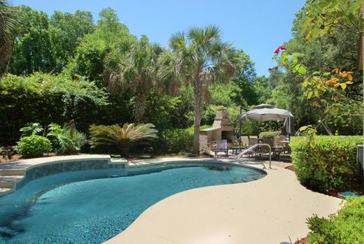 Backyard and pool area