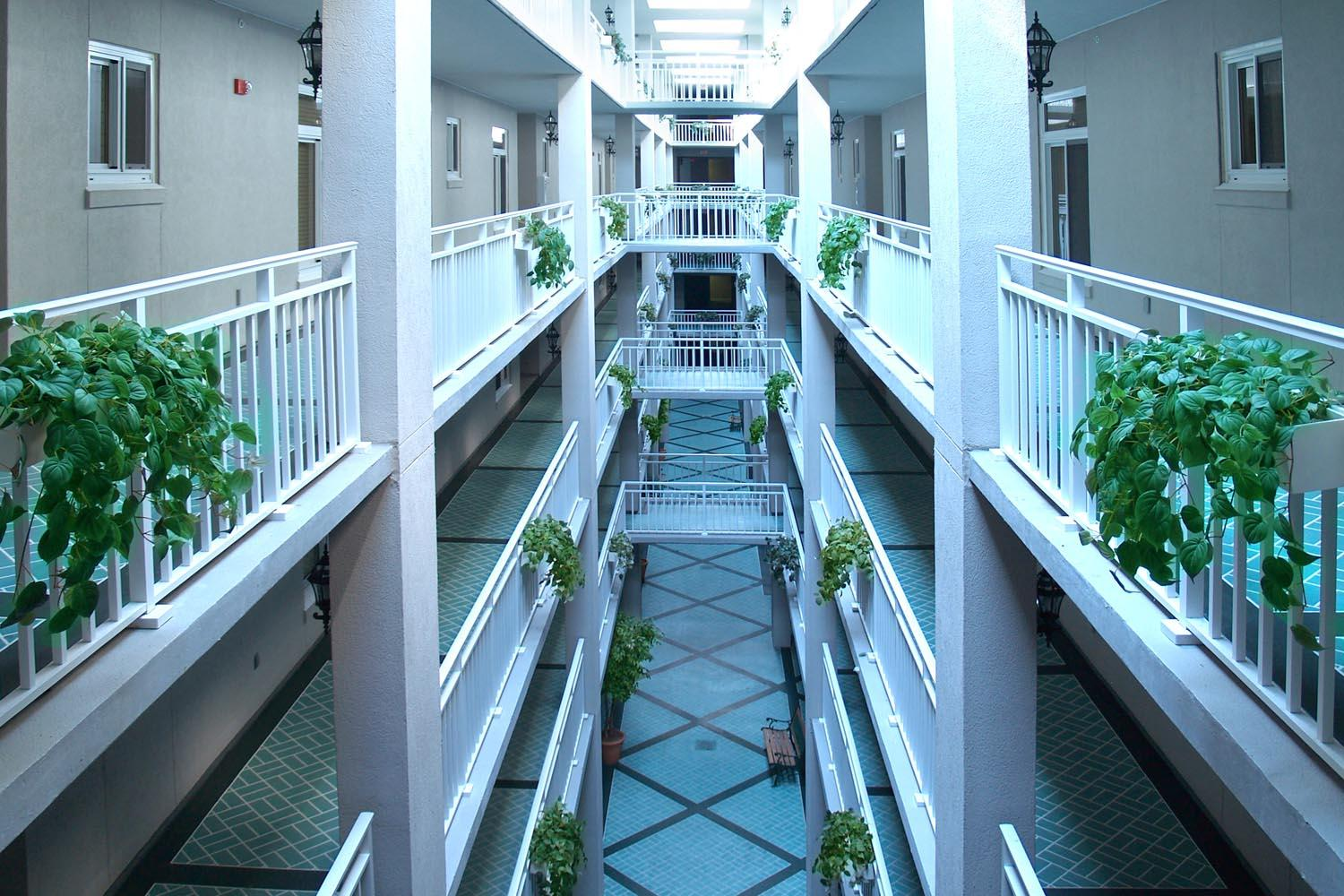 Indoor hallway to rooms