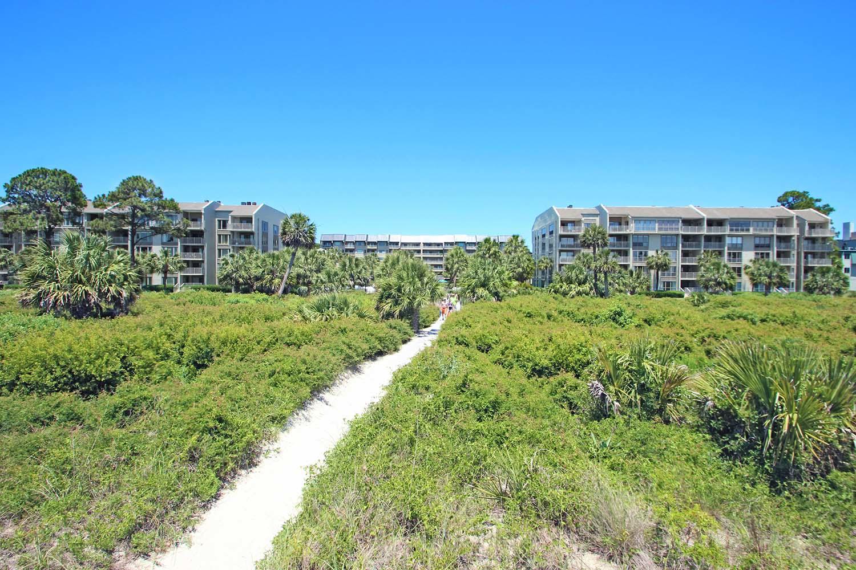 Beach path to building