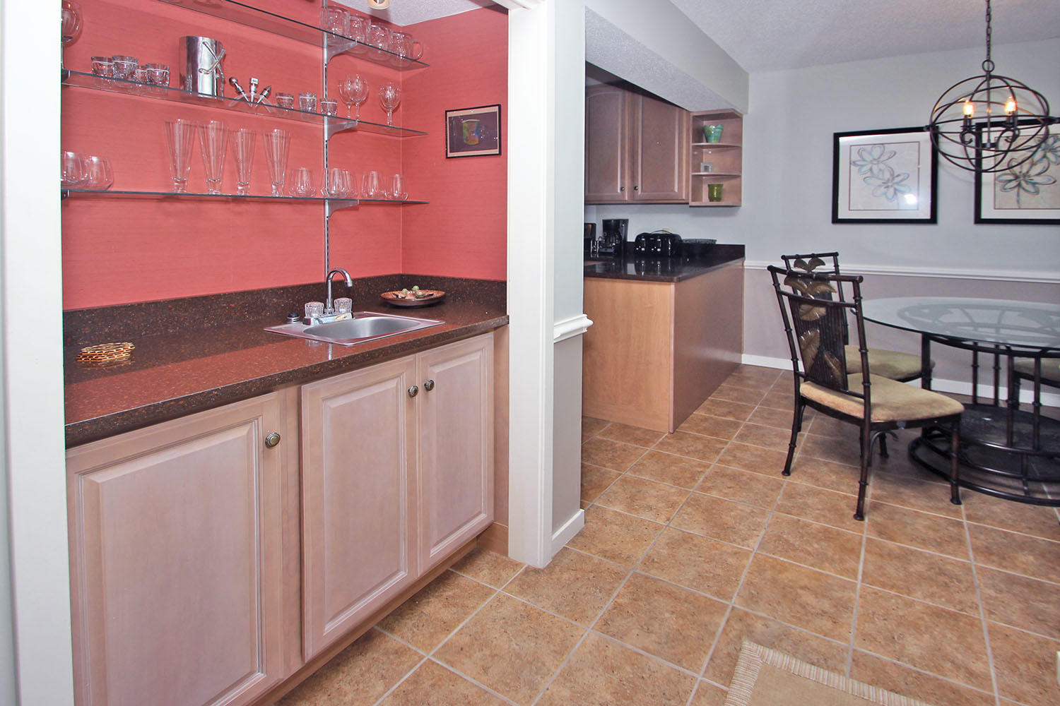 Wet bar by dinette area