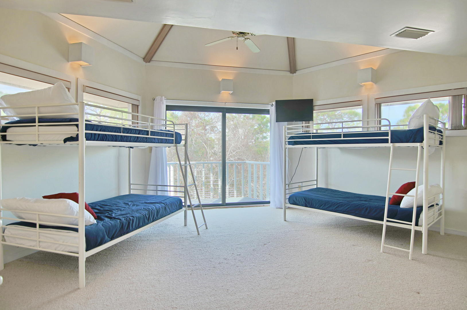 This bunk bedroom provides extra play space for the children in the family.