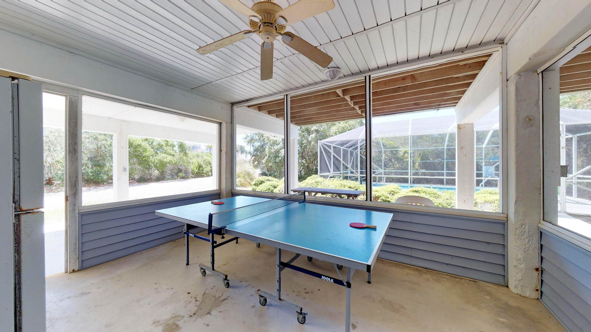 Ping Pong Table in Screened Patio