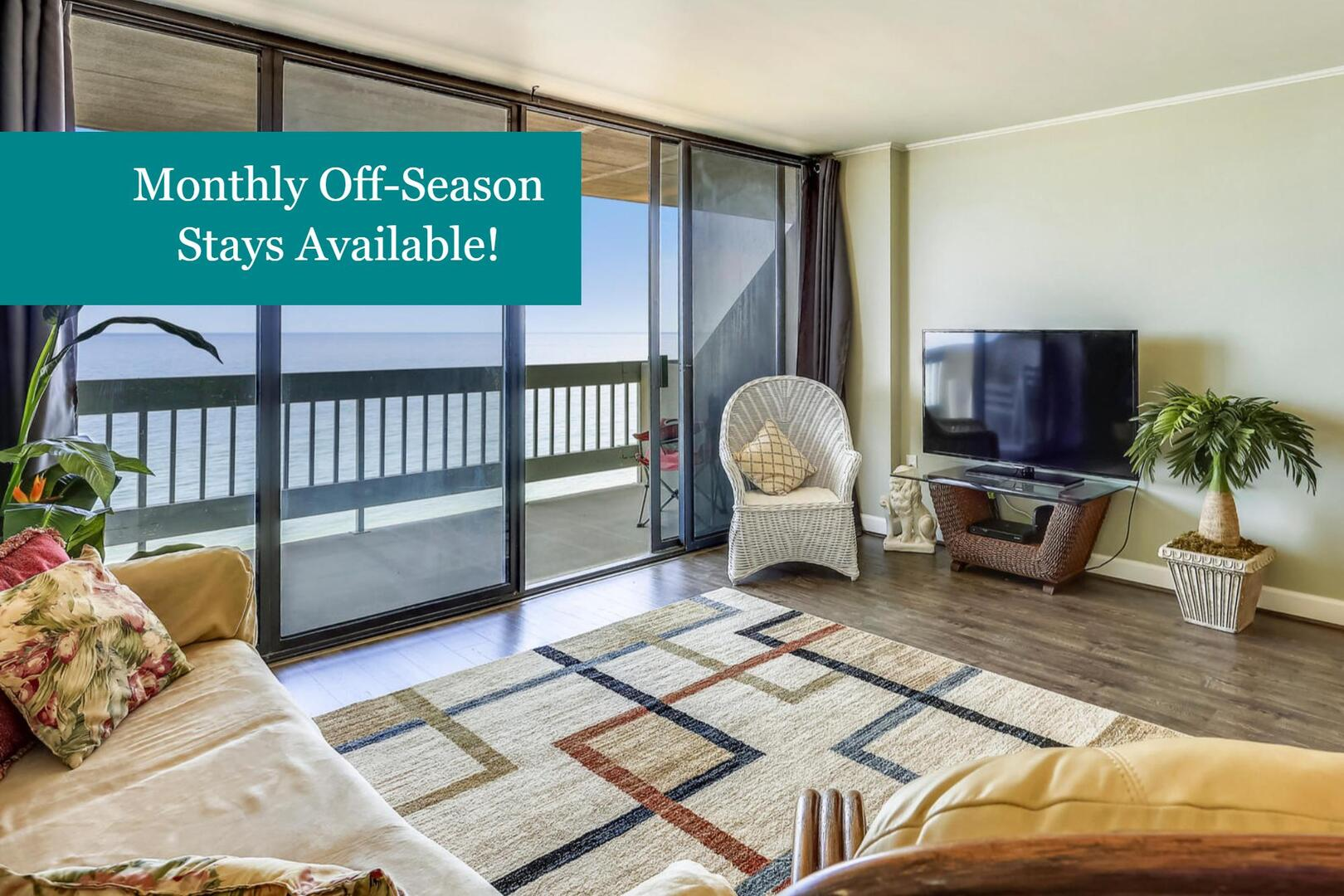 Monthly off-season rentals welcome