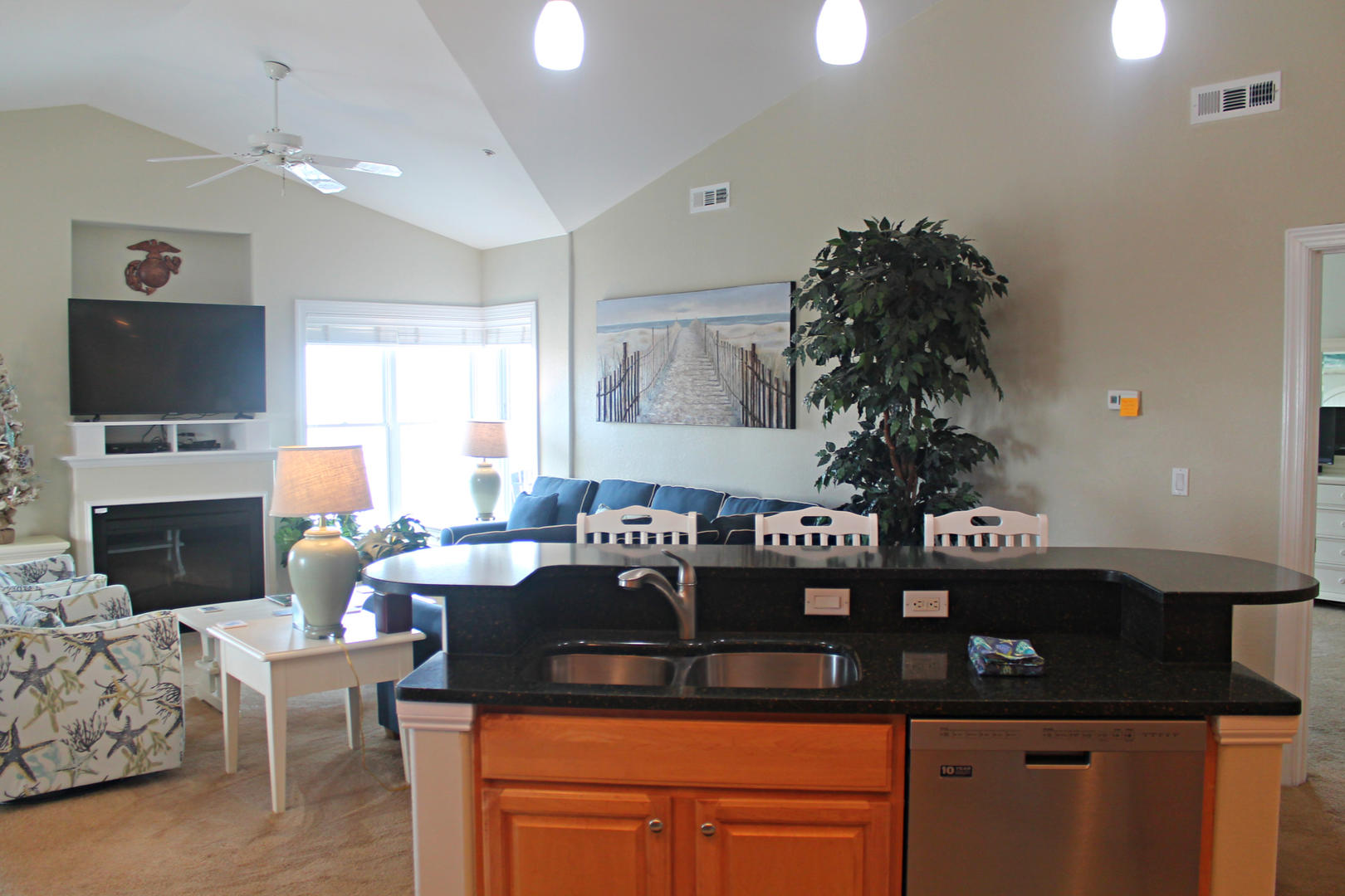 4100 Oceanside Condos 405 - Kitchen and Living Room