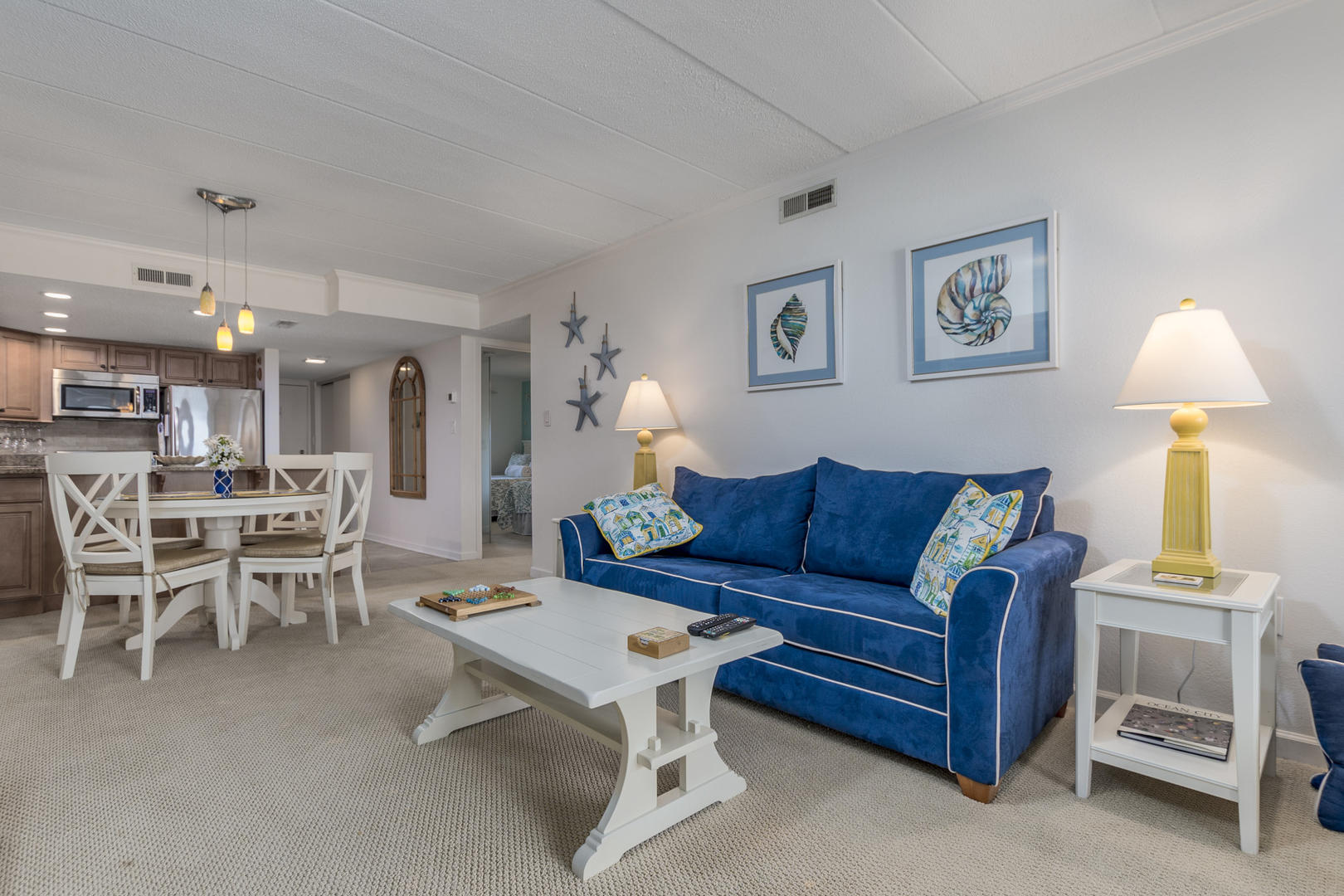 Pelican Beach 102 - Living Room and Dining Area