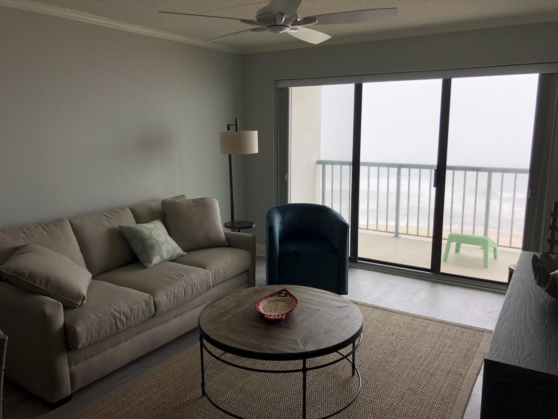 Summer Beach 602 - Living Room with Oceanfront Balcony