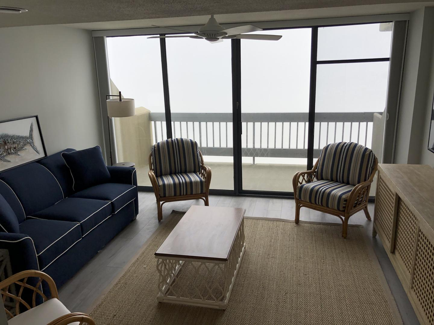 Century I 1622 - Living Room and Oceanfront Balcony