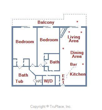 Belmont Towers 708 - Floor Plan Layout
