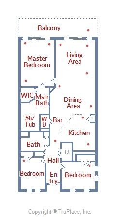 Floorplan Layout of 37 Fountain Dr. W 3C in Sunset Island