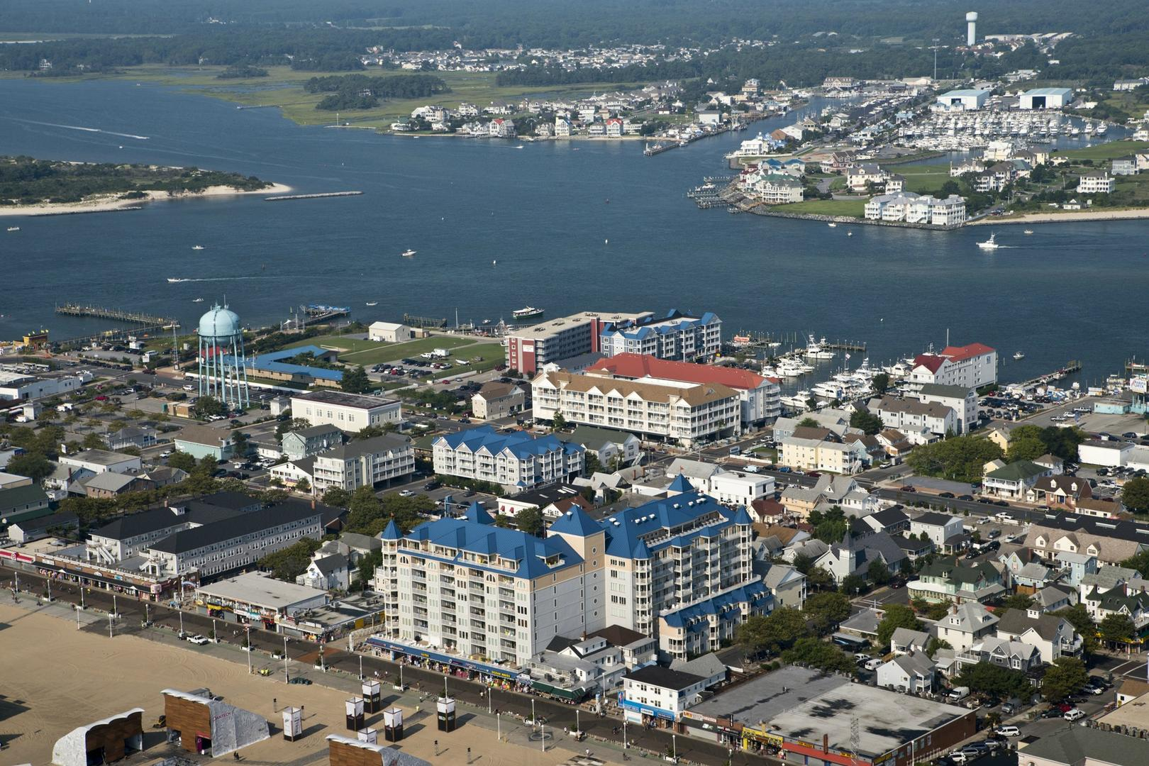 Aerial View of Belmont Towers in Downtown Ocean City
