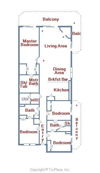 Bahia Vista I 208 - Floor Plan Layout